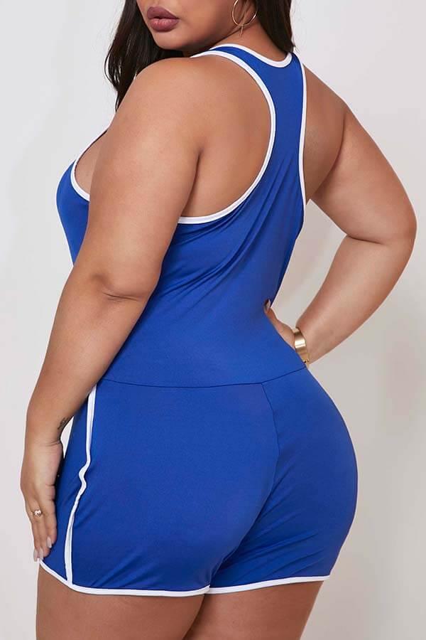 Lovely Sportswear Basic Blue Plus Size One-piece Romper