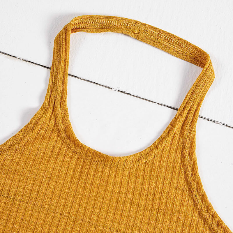 Lovely Leisure Lace-up Yellow Camisole