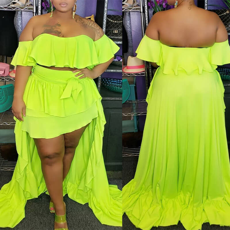 Lovely Trendy Flounce Design Yellow Plus Size Two-piece Skirt Set