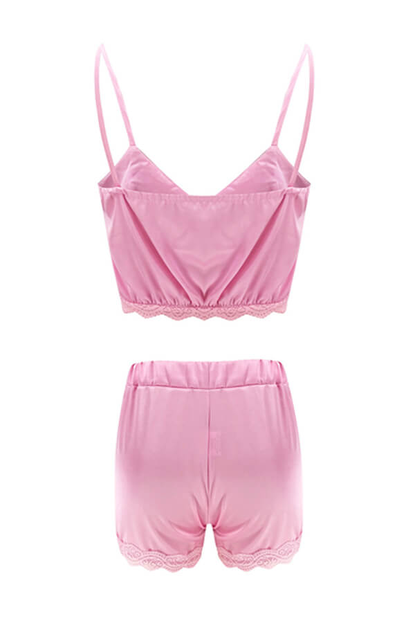 Lovely Sexy Basic Pink Sleepwear