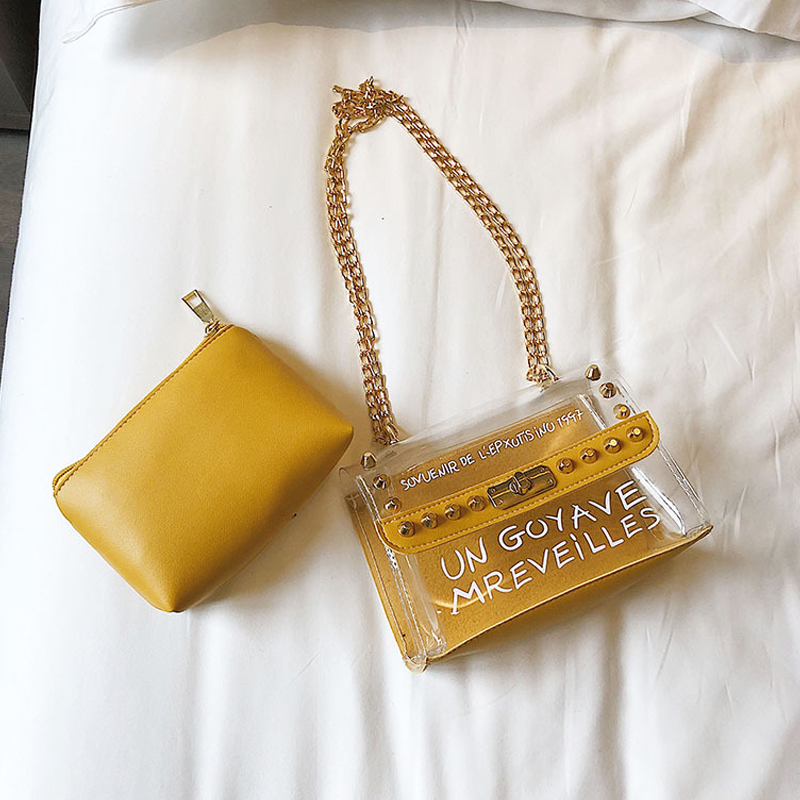 Lovely Trendy Chain Strap Yellow Crossbody Bag