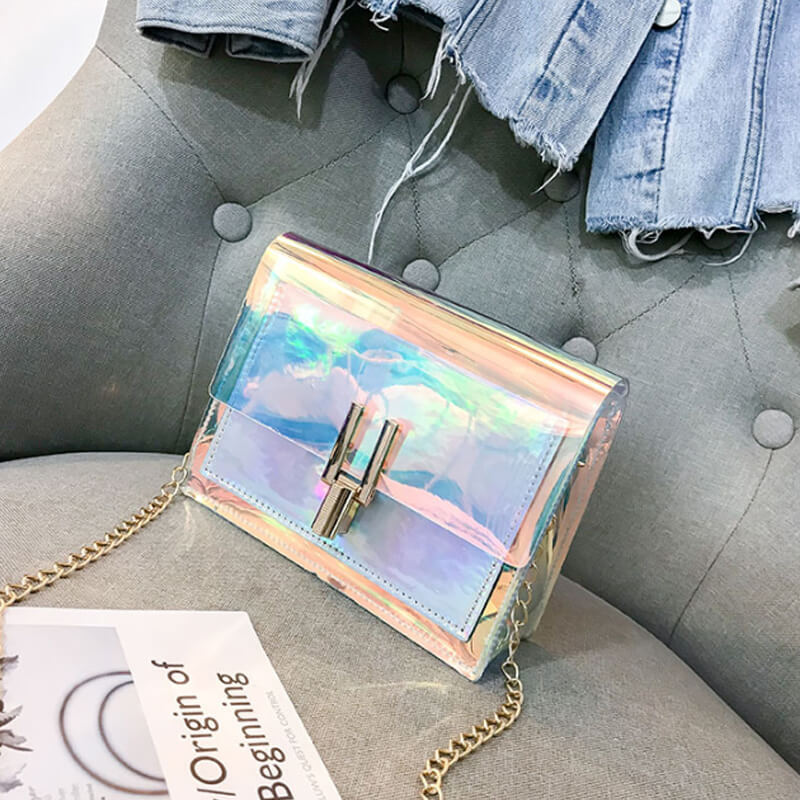 Lovely Chic See-through Silver Crossbody Bag