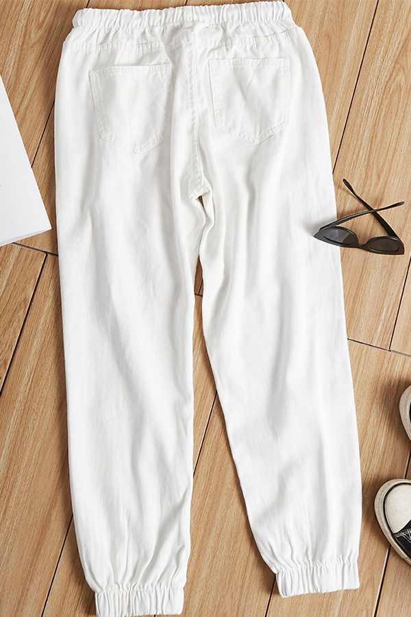 Lovely Casual Patchwork White Jeans