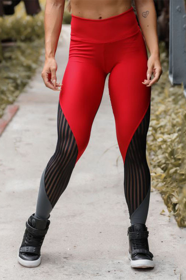 Lovely Leisure Patchwork Red Leggings