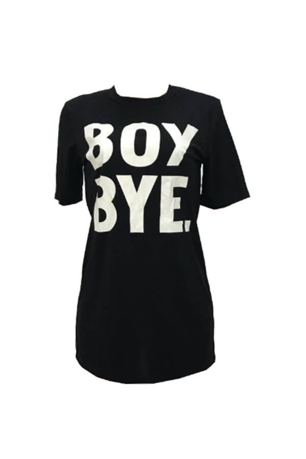 Lovely Leisure Letter Print Black Mini T-shirt Dre