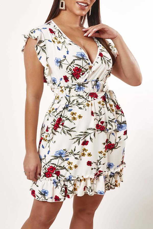 Lovely Bohemian V Neck Print White Knee Length Dress