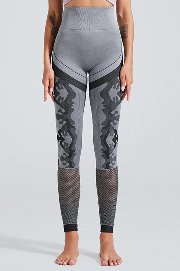 Lovely Sportswear Patchwork Grey Leggings