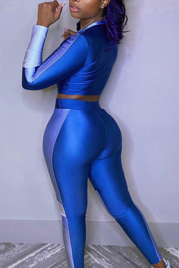 Lovely Sportswear Patchwork Blue Two-piece Pants Set