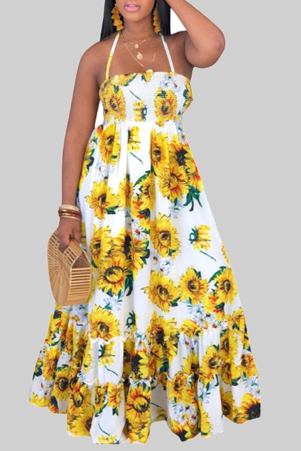 Lovely Bohemian Sunflower Print White Maxi Dress