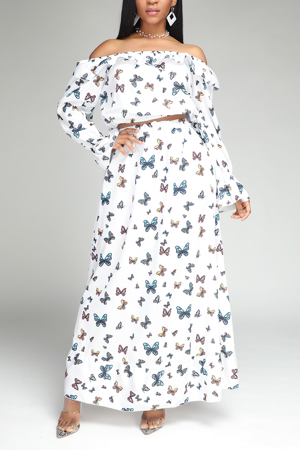 Lovely Bohemian Butterfly Print White Two-piece Skirt Set