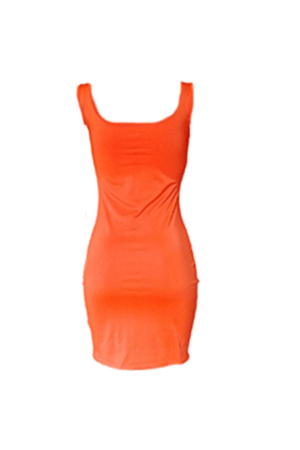 Lovely Casual Lip Print Orange Mini Dress