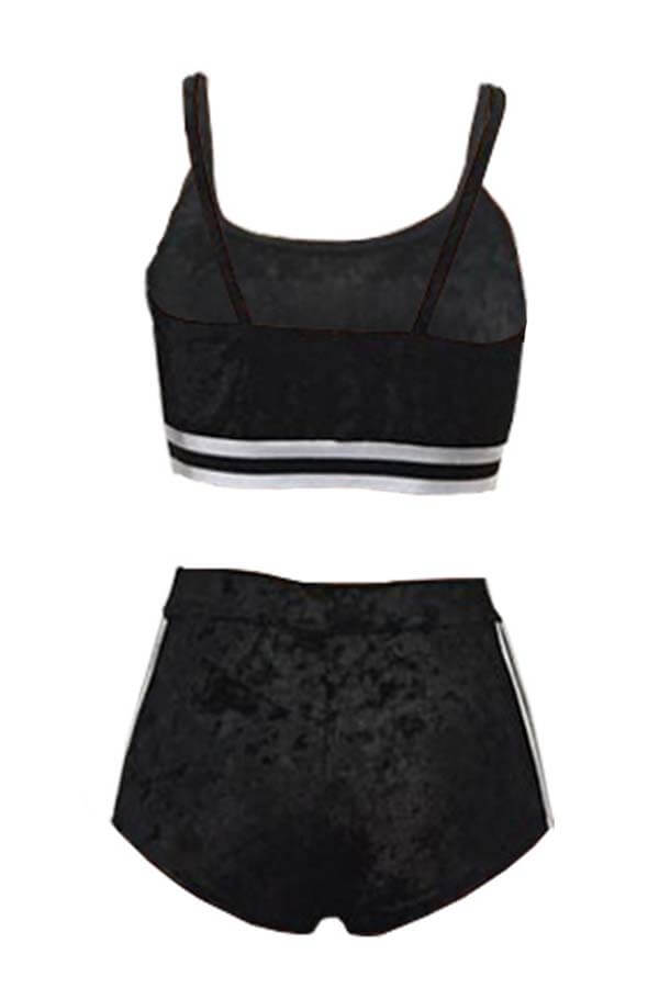 Lovely Sportswear Patchwork Black Two-piece Shorts Set