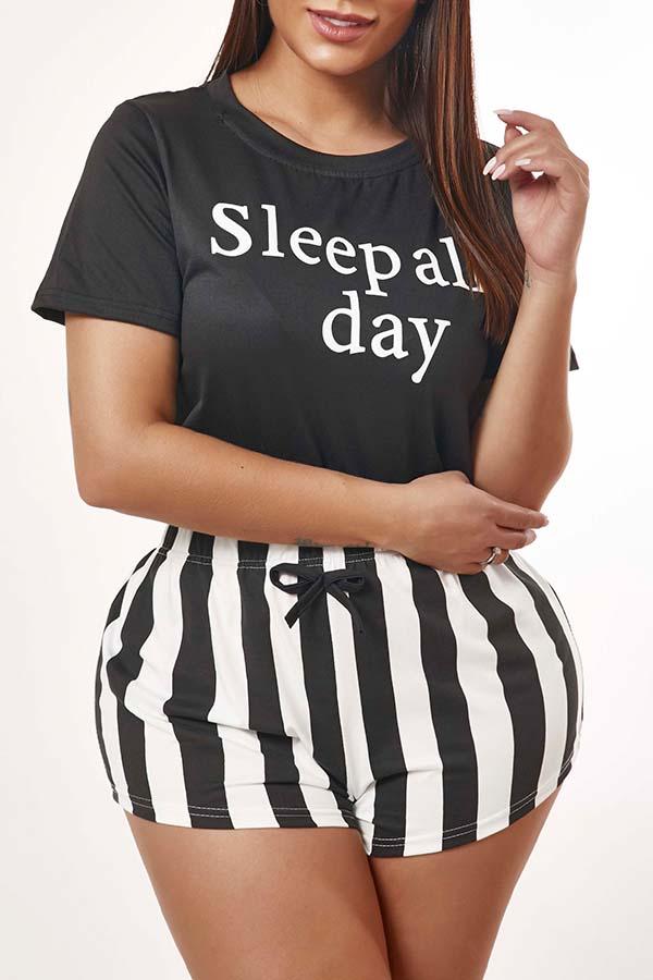 Lovely Leisure Print Black Sleepwear