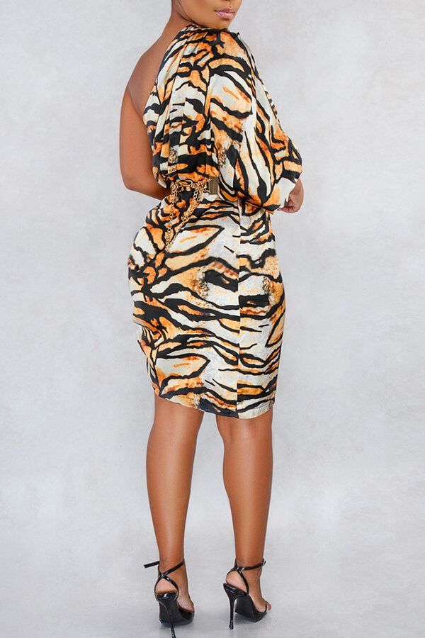 Lovely Stylish One Shoulder Tiger Stripes Mini Dress(Without Waistband)
