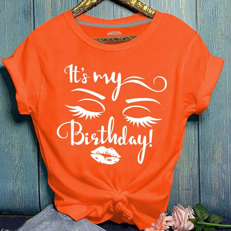 Lovely Casual O Neck Letter Print Orang Plus Size T-shirt