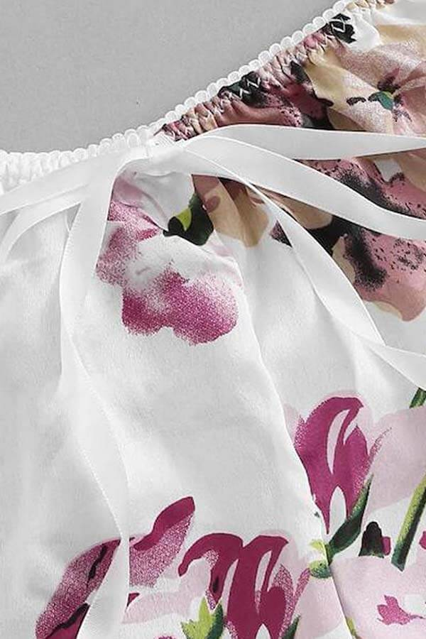 Lovely Sexy Print White Sleepwear