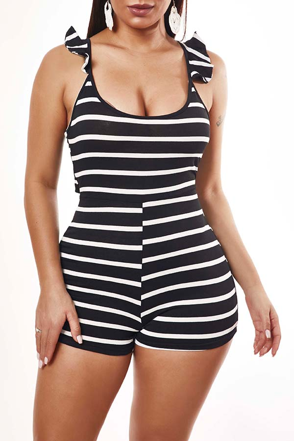 Lovely Casual Striped Black One-piece Romper