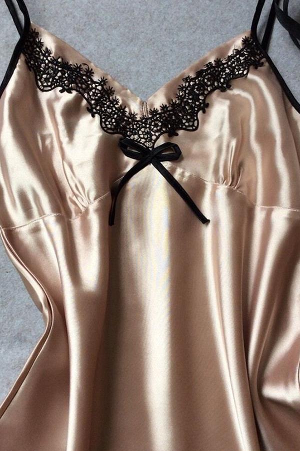 Lovely Trendy Lace Hem Skin Color Sleepwear