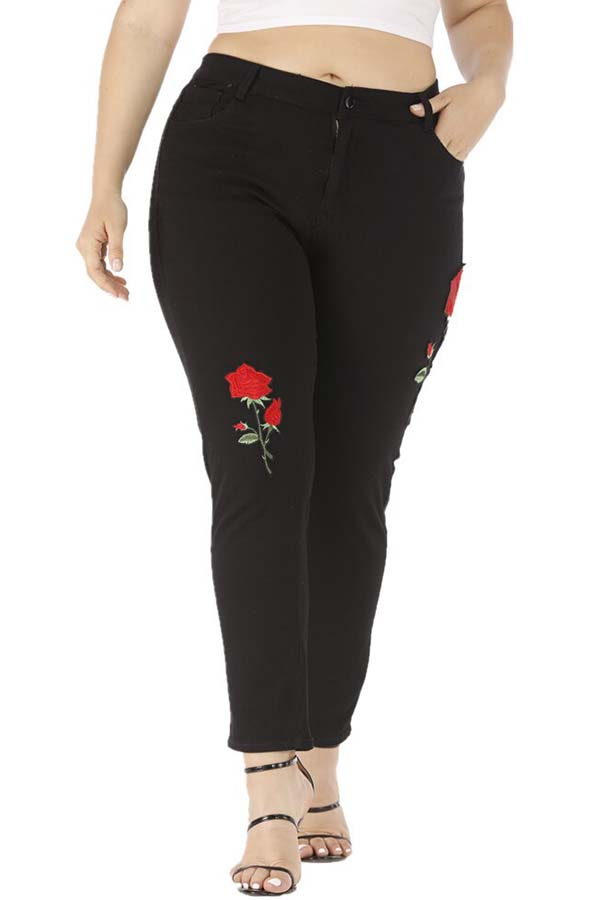 Lovely Stylish Embroidered Design Black Plus Size Jeans