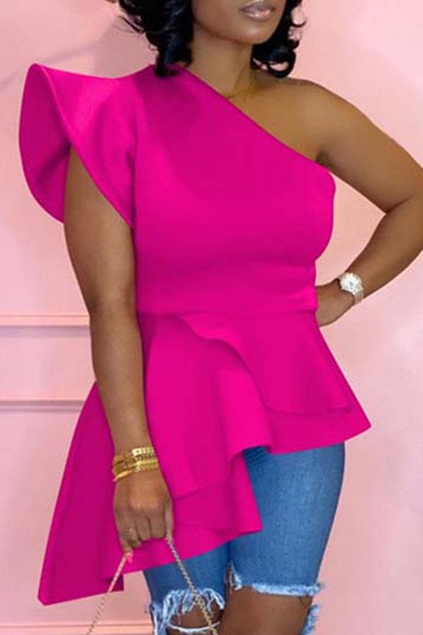 Lovely Trendy One Shoulder Flounce Design Rose Red Blouse