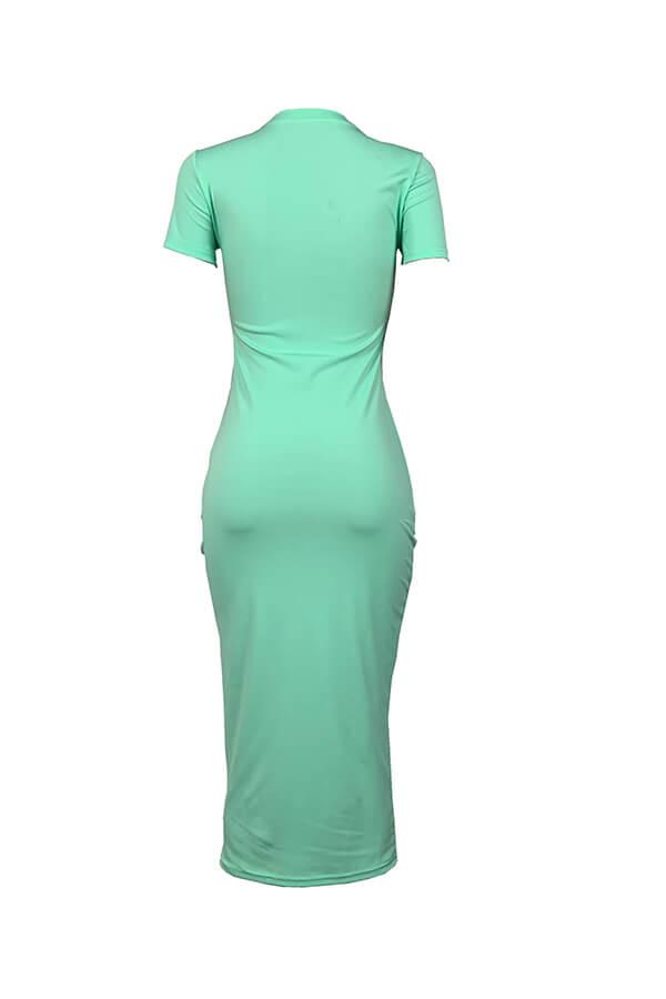 Lovely Casual O Neck Letter Print Green Mid Calf T-shirt Dress