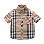Lovely Casual Plaid Print Apricot Boys Shirt
