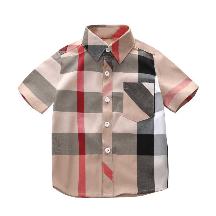 Lovely Chic Plaid Print Apricot Boys Shirt