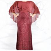 Lovely Trendy Patchwork Wine Red Maxi Plus Size Dr
