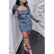 Lovely Casual Turtleneck Hollow-out Blue Mini Dres