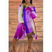 Lovely Sweet Print Purple Mini Dress
