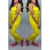Lovely Casual  Flounce Yellow Two-piece Pants Set
