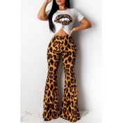 Lovely Casual Lip Printed Yellow Two-piece Pants S
