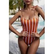 Lovely Striped Orange One-piece Swimsuit