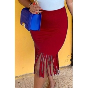 Lovely Chic Tassel Design Wine Red Skirt