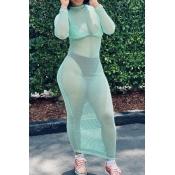 Lovely Trendy See-through Green Ankle Length Dress