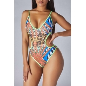 Lovely Hollow-out Blue One-piece Swimsuit