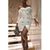 Lovely Work Button Design White Mini Dress