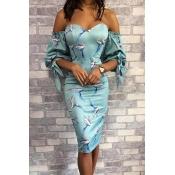 Lovely Sweet Print Baby Blue Knee Length Dress