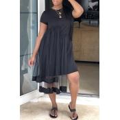 Lovely Chic See-through Black Knee Length T-shirt
