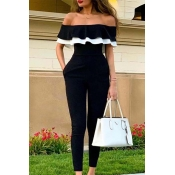 Lovely Chic Flounce Patchwork Black One-piece Jump