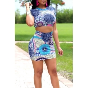 Lovely Casual Print Multicolor Two-piece Skirt Set