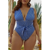 Lovely Striped Blue  Plus Size One-piece Swimsuit