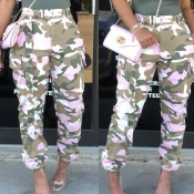 Lovely Casual Camo Print Pink Pants