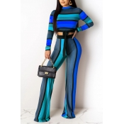 Lovely Trendy Striped Blue Two-piece Pants Set