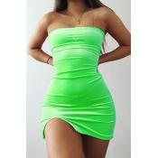 Lovely Chic Dew Shoulder Green Mini Dress