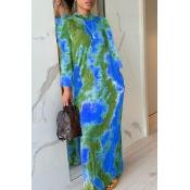 Lovely Casual O Neck Print Skinny Green Maxi Dress