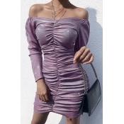Lovely Casual Fold Design Purple Mini Dress
