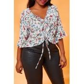 Lovely Trendy Flounce Design White Plus Size Blous