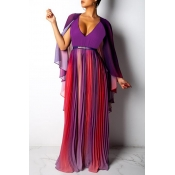 Lovely Casual V Neck  Patchwork  Purple Prom Dress