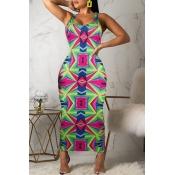 Lovely Chic Print Green Ankle Length Dress